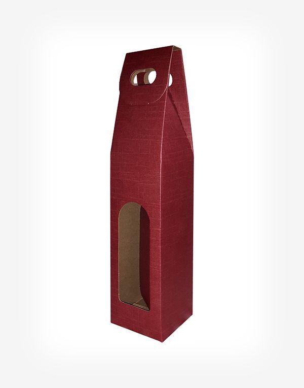 Darčekový kartónový box na 1 fľašu - bordový