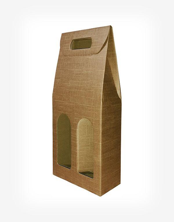 Darčekový kartónový box na 2 fľaše - natural